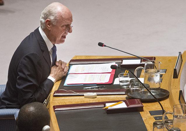 Staffan de Mistura durante uma sessão da ONU em 29 de julho de 2015.