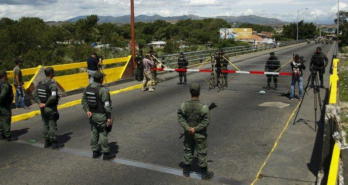 Guarda Nacional da Venezuela na fronteira com a Colômbia