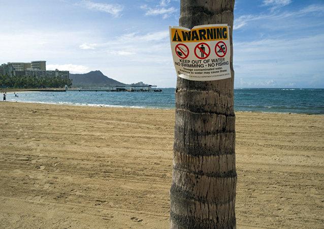Praia de Waikiki, no Havaí.