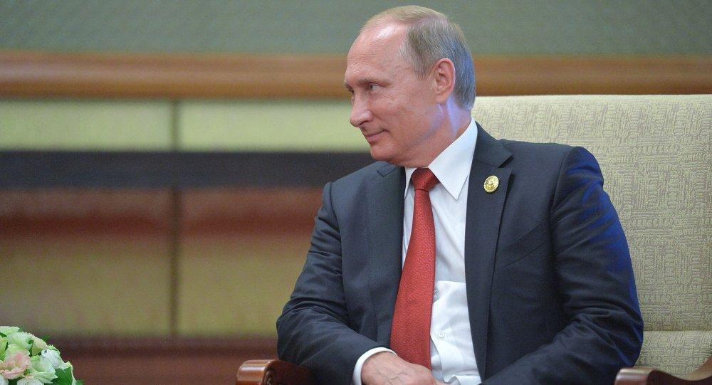 Presidente russo durante a sua visita à China, 3 de setembro de 2015