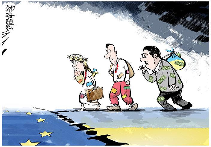 Refugiados ucranianos atravessam fronteira entre a Ucrânia e a União Europeia