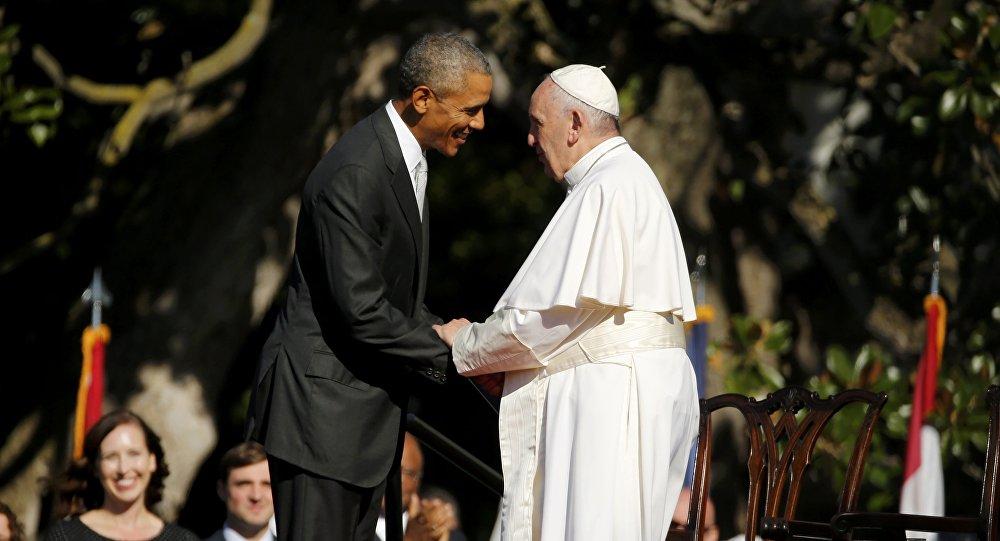 Papa Francisco durante encontro com o presidente dos EUA, Barack Obama, na Casa Branca, em 23 de setembro de 2015