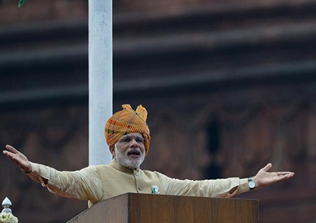 Narendra Modi durante as celebrações do Dia da Independência da Índia em 2015