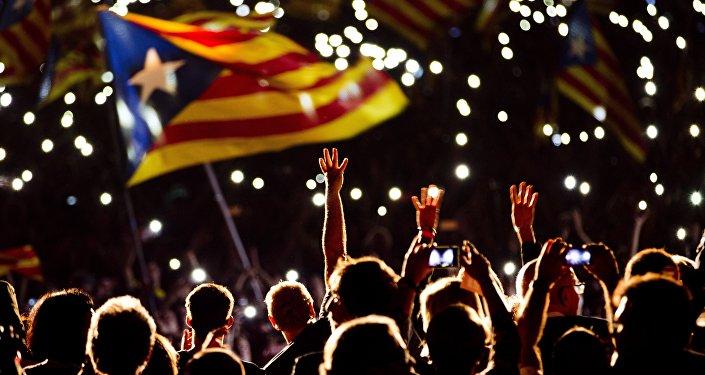 Manifestação pró-independência em Barcelona, Espanha (foto de arquivo)