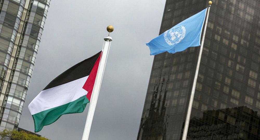 Bandeira da Palestina hasteada na ONU.