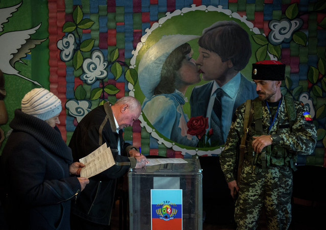 Residents of the Lugansk region cast their votes at the early election of head of the Lugansk People's Republic in the village of Volodarsk