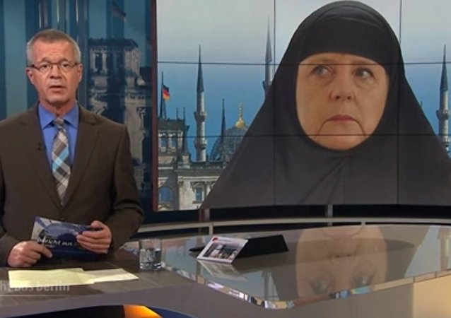 Merkel vestida de xador