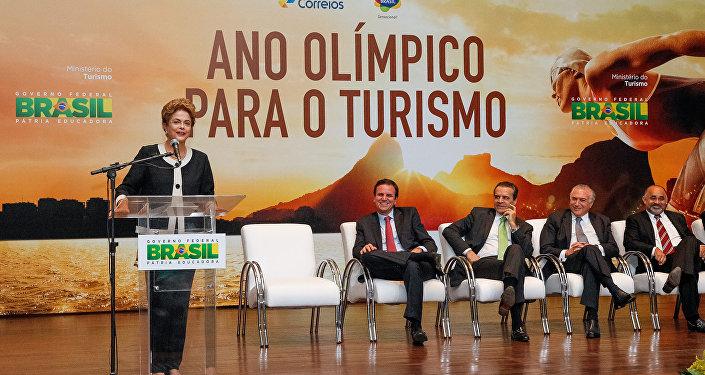 Presidenta do Brasil, Dilma Rousseff, discursa durante lançamento do Ano Olímpico para o Turismo