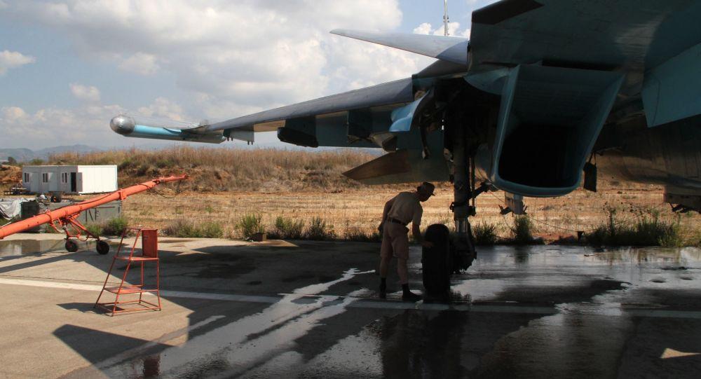 As Forças Aeroespaciais da Rússia na base aérea de Khmeimim na Síria.