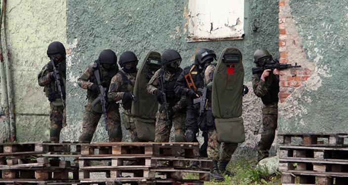 Exercícios antiterroristos na cidade russo de Kaliningrado