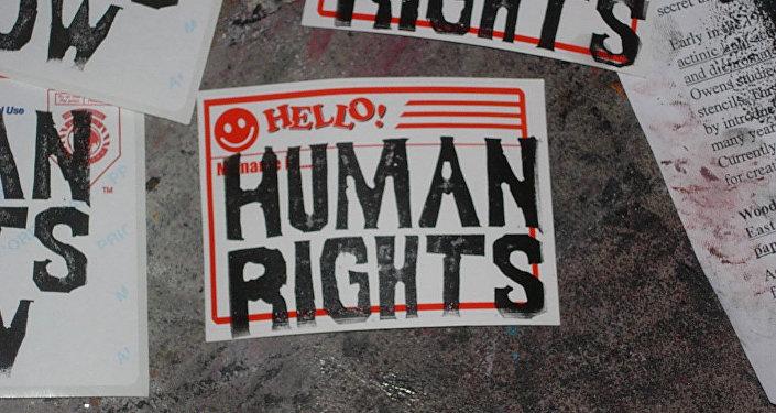 Cartazes com inscrições Direitos humanos