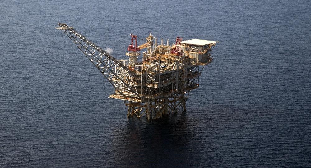 Plataforma de perfuração de gás de Tamar israelense no mar Mediterrâneo