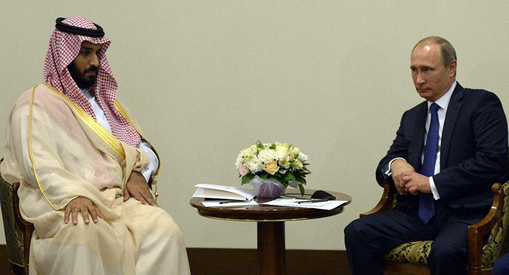Vladimir Putin e Vice príncipe herdeiro e ministro da Defesa da Arábia Saudita Mohammad bin Salman Al Saud