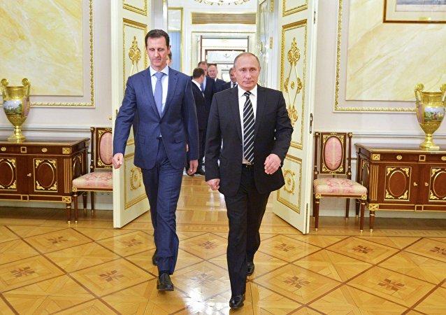 O presidente da Rússia, Vladimir Putin, encontra o presidente da Síria, Bashar Assad, no Kremlin