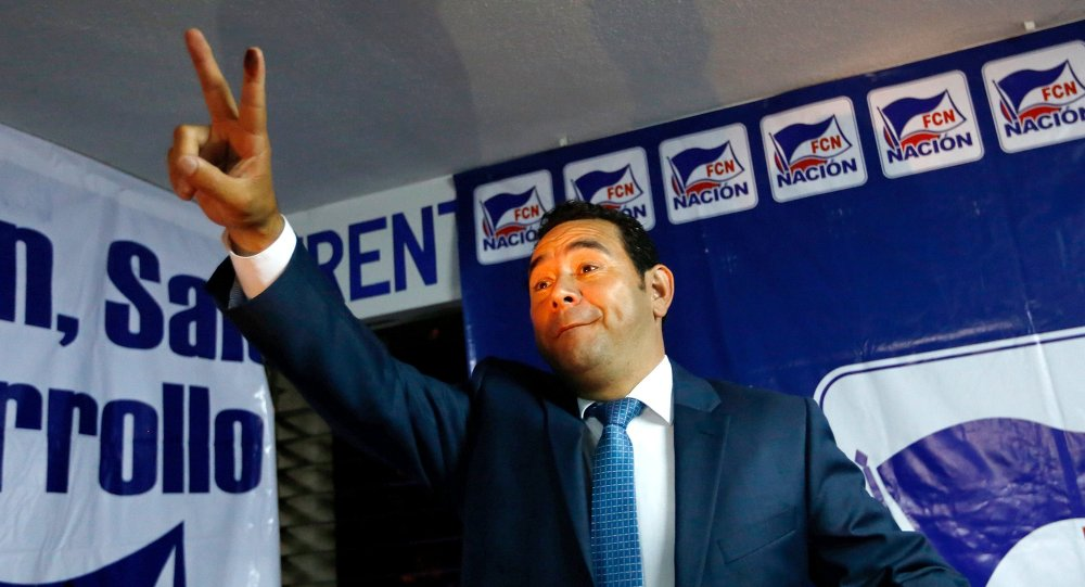 Jimmy Morales, candidato pelo Frente da Convergencia Nacional à presidencia de Guatemala