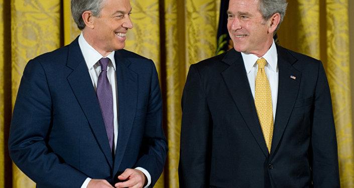Ex-premiê britânico Tony Blair e ex-presidente norte-americano George W. Bush