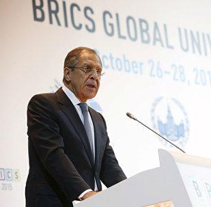 Sergei Lavrov, durante a Cúpula Global das Universidades dos BRICS.