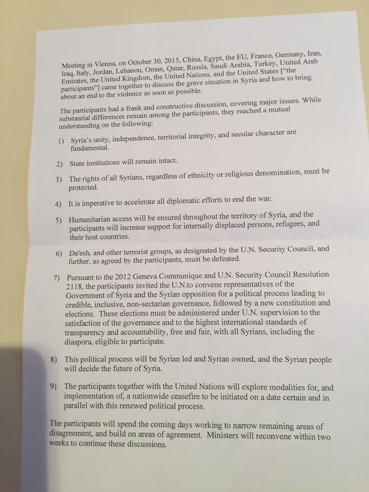 Reprodução do documento oficial da reunião de Viena sobre a Síria