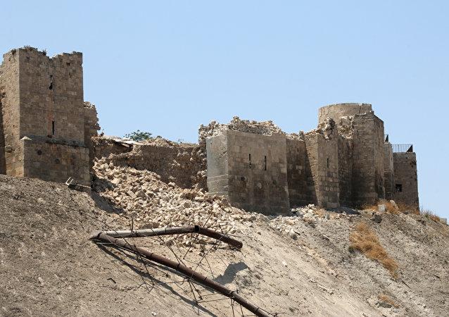 Muro da Cidadela danificado após Batalha de Aleppo