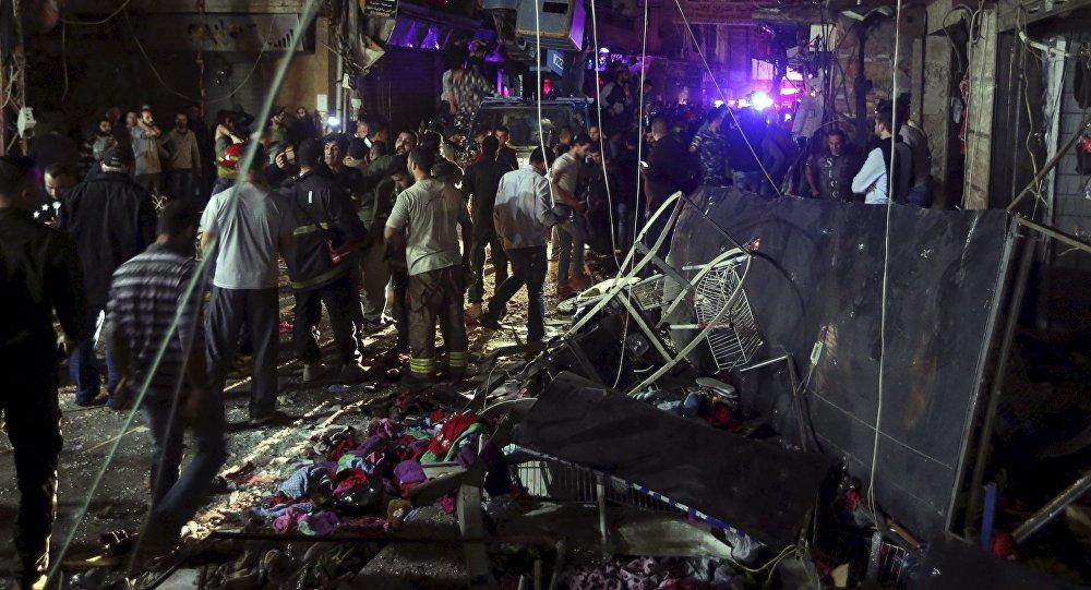 Local onde ocorreram os atentados terroristas em Beirute