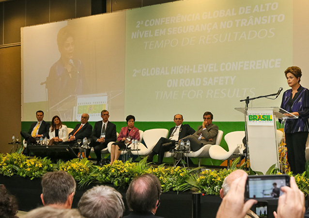Dilma Rousseff durante cerimônia de abertura da 2ª Conferência Global de Alto Nível sobre Segurança no Trânsito