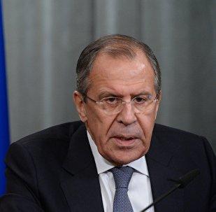 Sergei Lavrov durante a reunião das chancelarias russa e bielorrussa