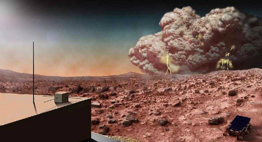 Ilustração de tempestade de areia em Marte