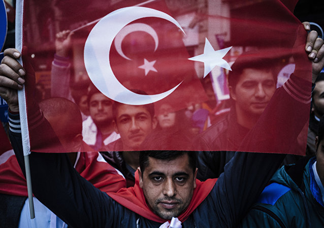 Apoiante do presidente turco empunha a bandeira da Turquia, 29 de outubro de 2015