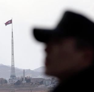 Um militar norte-coreano junto à bandeira nacional