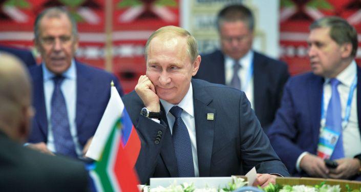 Presidente da Rússia Vladimir Putin durante encontro com líderes do BRICS em Ufá