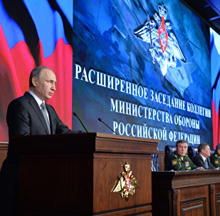 Presidente russo, Vladimir Putin, faz resumo da atuação do Ministério da Defesa em 2015