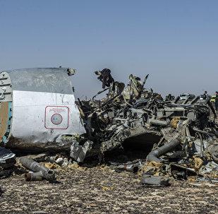 Uma parte dos destroços do A321 da russa Kogalymavia (Metrojet) no local da queda