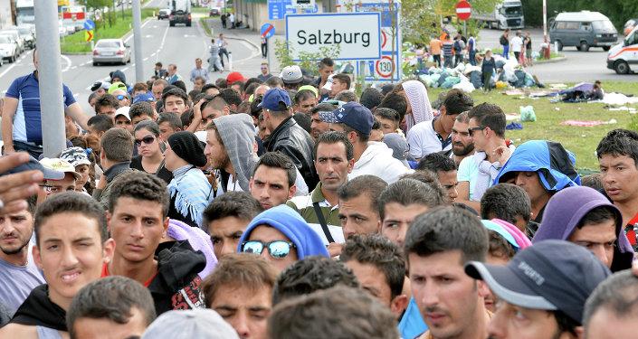 Refugiados em Salzburgo, Áustria, 17 de setembro de 2015.