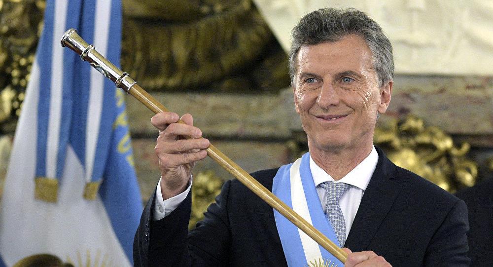 Presidente da Argentina, Mauricio Macri, na cerimônia de inauguração de seu mandato na Casa Rosada, 10 de dezembro de 2015