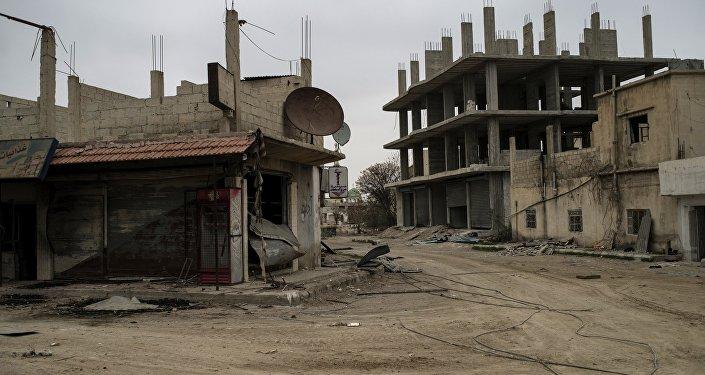 Aeródromo militar de Marj al-Sultan retomado pelo Exército sírio no sudeste de Damasco, Síria, 19 de dezembro de 2015