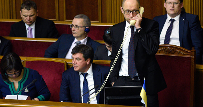 Primeiro-ministro ucraniano, Arseny Yatsenyuk, durante a sessão da Verkhovnaya Rada (parlamento da Ucrânia)