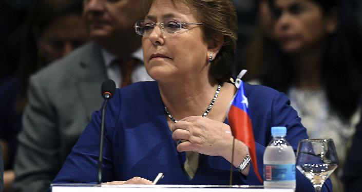 A presidente do Chile, Michelle Bachelet, durante a cúpula do Mercosul