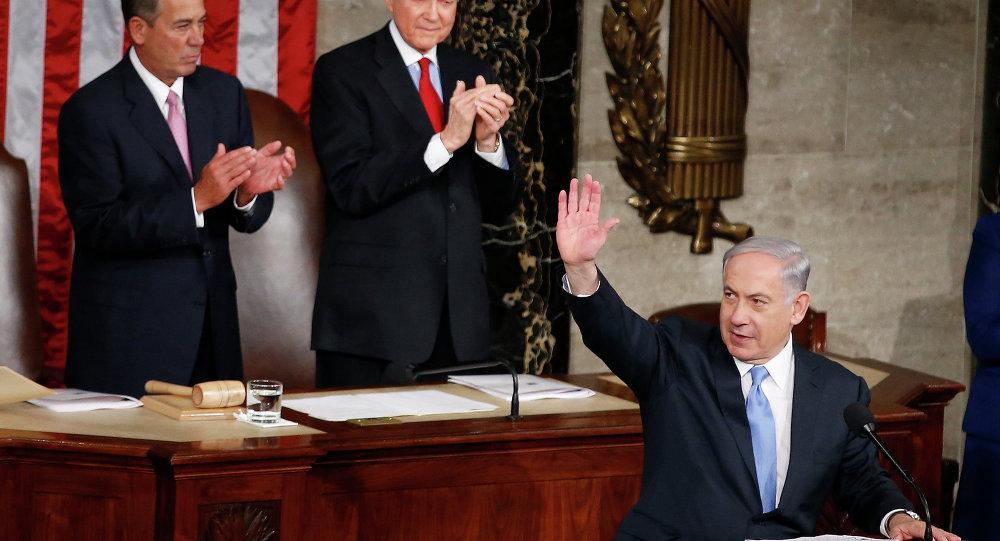 Benjamin Netanyahu durante seu discurso no Congresso dos EUA