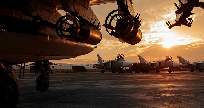 Grupo aéreo russo na base de Hmeymim, na Síria