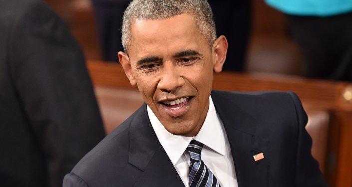 Presidente norte-americano, Barack Obama, antes de fazer o seu último Discurso sobre o Estado da União, Washington, EUA, 12 de janeiro de 2016