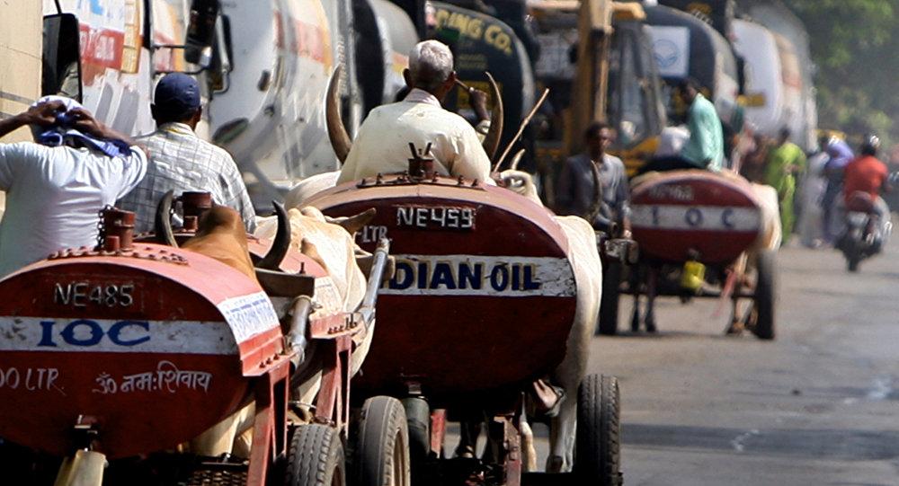 Carros empurrados por burros que transportam petróleo na Índia, Mumbai