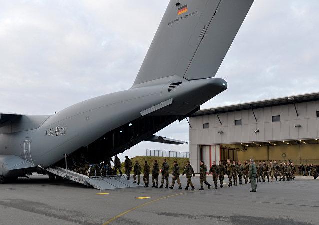A400M alemão na base aérea de Jagel, no norte da Alemanha, em 10 de dezembro de 2015