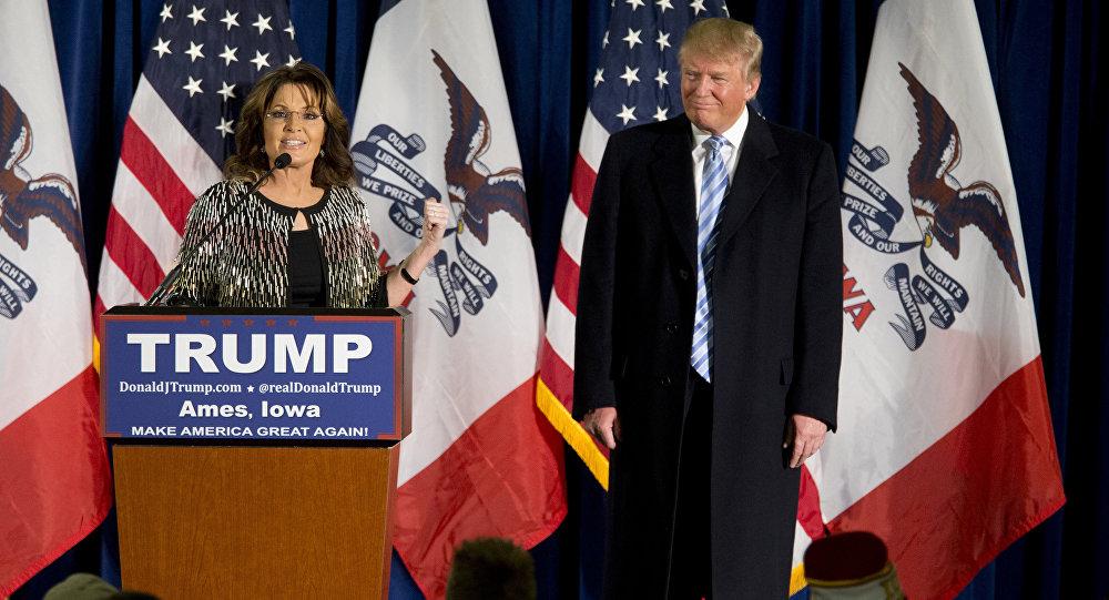 Donald Trump recebe apoio oficial de Sarah Palin