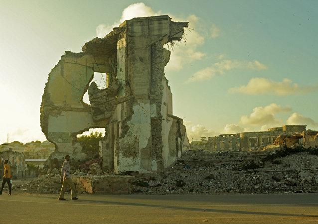 Pôr-do-sol em Mogadíscio, capital da Somália, em 11 de agosto de 2015