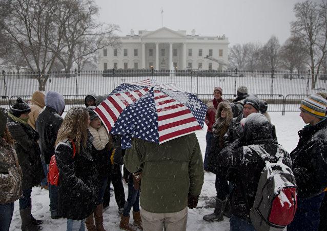 Neve em Washington, EUA, em 6 de janeiro de 2015