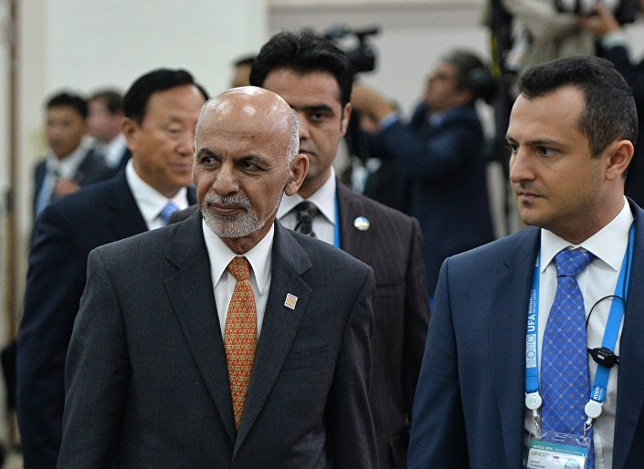 Ashraf Ghani Ahmadzai durante cúpula da SCO em Ufá
