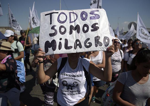 Manifestação em Buenos Aires pela libertação de Milagro Sala