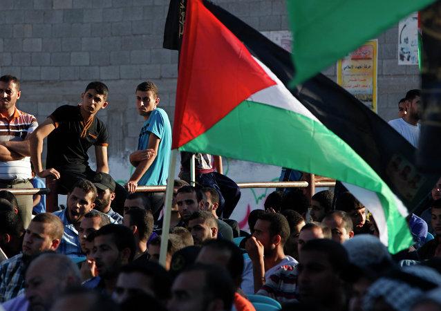 Manifestantes com bandeiras da Palestina
