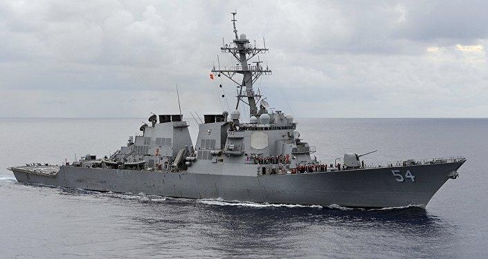O destróier USS Curtis Wilbur, da Marinha dos EUA