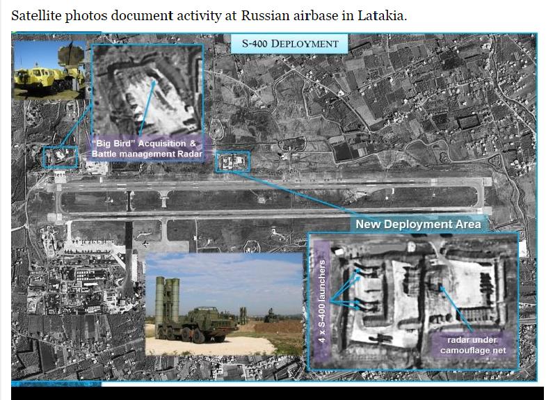 Imagem de satélite que mostra a instalação do sistema S-400 na base aérea russa de Hmeymim